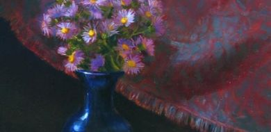 Red Asters And Blue